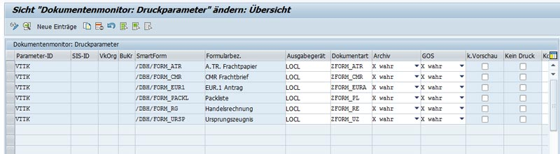 Document monitor of the SAP plug-in from dbh
