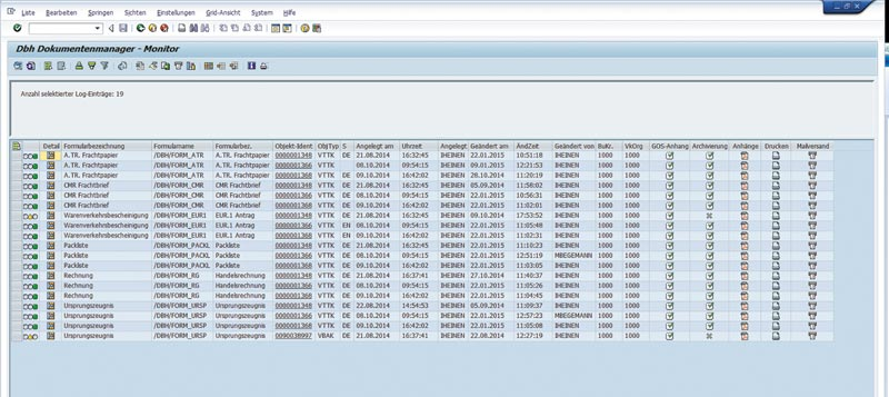 Documents clearly displayed in SAP