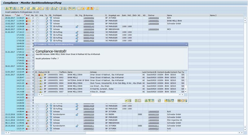 Sanctions Lists Monitor in the SAP System