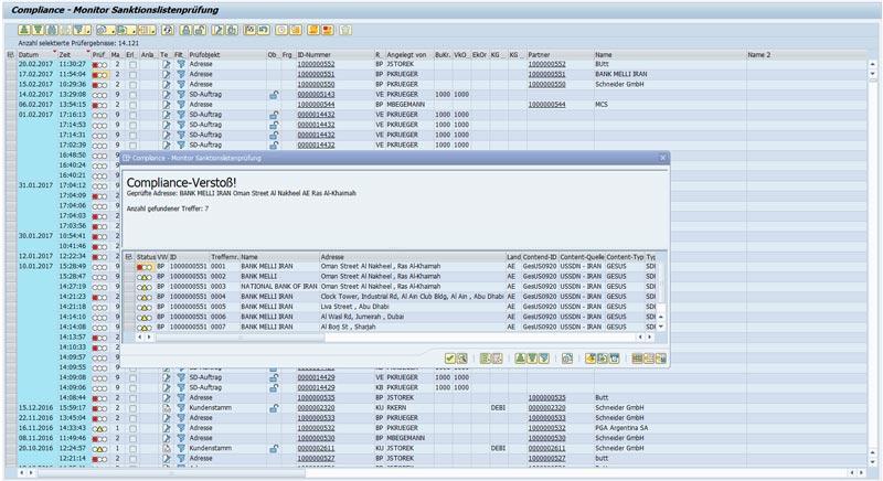 Sanktionslisten Monitor im SAP System